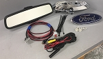 2009-2010 Ford F150 F250 F350 & Flex Backup Camera Retrofit Kit with OEM RVD MIC COMPASS Backup Camera Display Rear View Mirror, 10 Pin to 16 Pin Adapter Harness & Ford Oval Backup Camera