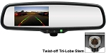 Rostra 3rd Brakelight-Mounted Backup Camera & Manual Dim Rear View Mirror w/2-Input 4.3
