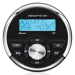Aquatic AV GP1 Standard Marine Gauge Size Wired Waterproof Marine Stereo w/Bluetooth Audio, USB, MP3, AM/FM, AUX